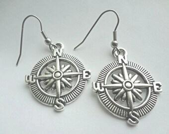 Nautical Pirate Compass Earrings - Vintage Style Navigation Earrings Charm