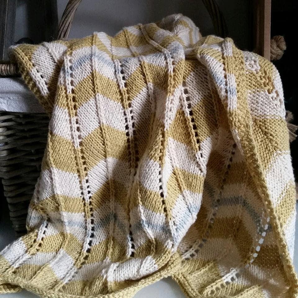 Baby Blanket Knitting Pattern PDF Chevron Stripe Pram