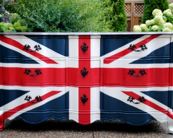Sold!!- Waving Union Jack flag dresser
