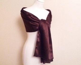 Stole chocolate brown satin wedding/evening/baptism/cocktail/Christmas/feast of year-end