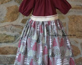 Christmas, Holiday peasant dress, toddler dress, trees, burgundy dress, girls dress, decorative stitching, baby dress, festive dress,