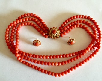 Antique European EXCELLENT cond 14k Natural no dye Red Coral round Beads triple strand Necklace earrings set