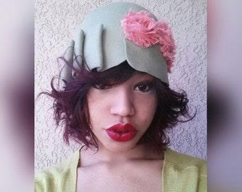 Green. Coral. Pink. Cloche. Wool. Felt. Hat. 1920s. 1940s. Red. Blue. White. Black. Orange. Womens.