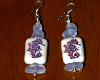 Sterling Silver Sea Glass and Seahorse Bead Earrings