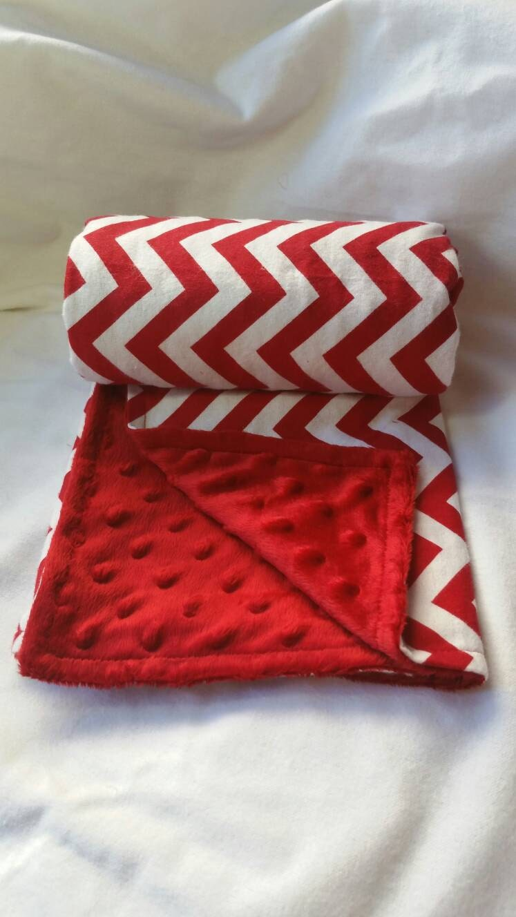 Red Amp White Chevron Flannel And Minky Blanket Baby Girl Or