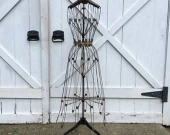 Antique industrial wire dress form mannequin store display