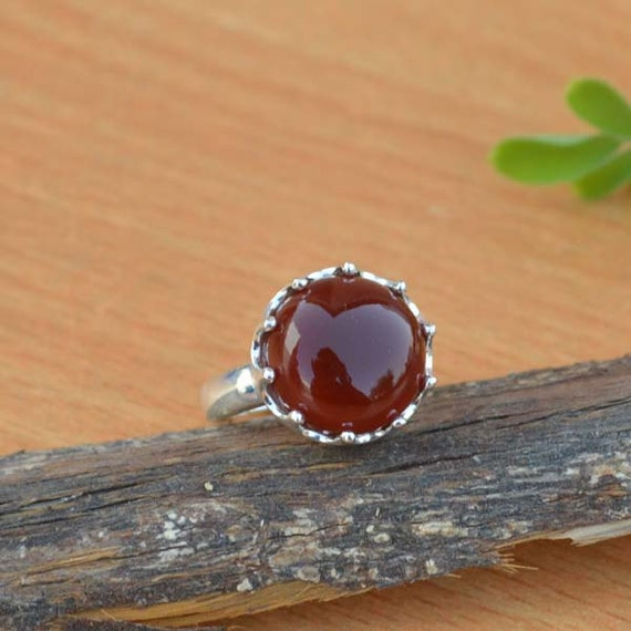 Sterling Silver Statement Ring, Round Red Onyx Ring, Onyx Ring, Red Ring,Bezel Set Ring,Birthstone Ring, Red Ring,Silver Ring Size 7