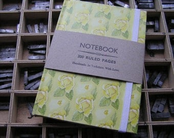 Handmade notebook yellow roses 200 ruled pages with elastic A6