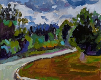 FERN ROAD small original landscape oil painting by Jean Delaney size 8 x 6 inch oil on 1/8th inch gesso board