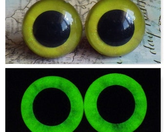 18mm Glow In The Dark Eyes, Yellow Glitter Safety Eyes With Greenish Yellow Glow, 1 Pair Of Glow In The Dark Safety Eyes