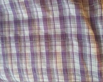 Fabric purple white gingham