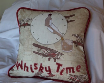 Personalised cushion for whisky lovers, personalised whiskey pillow