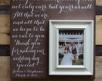 Mother of the Bride Gift Parents Thank You Gift Wedding Gift Personalized Picture Frame Today is a Celebration of our Love, 16x16