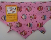Cupcakes Bake Off Dog bandana. Pretty Pink bandanas for dogs, Tea Party outfit, 100% cotton, handmade in Yorkshire. Free UK P&P.  7 sizes!