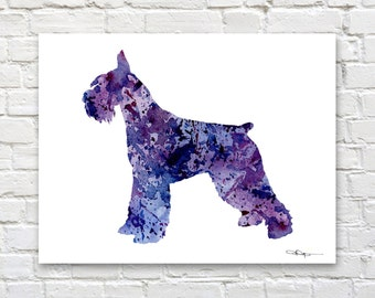 Giant Schnauzer Art Print - Watercolor - Abstract Painting - Dog - Wall Decor