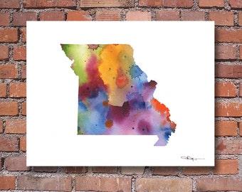 Missouri Map - Abstract Watercolor Art Print - Wall Decor