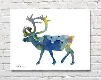 Blue Caribou Art Print - Abstract Wildlife Watercolor Painting - Wall Decor