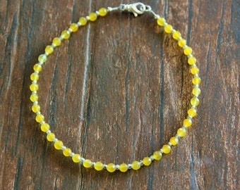 Anklet Beaded Anklet Beaded Jewelry Yellow Jade Beaded Anklet Yellow Anklet  Women's Gifts Gifts for Her Bridal Party Gift