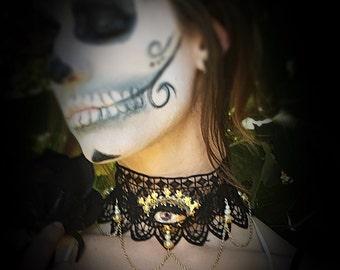 Third Eye Lace Choker, Victorian Style Choker, Black Lace Choker.