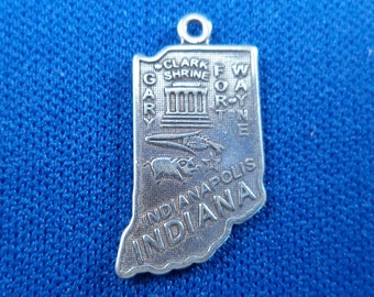 STERLING SILVER State of Indiana Charm for Charm Bracelet