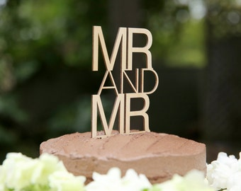 Mr and Mr Wooden Cake Topper Contemporary   Gay wood Cake Topper