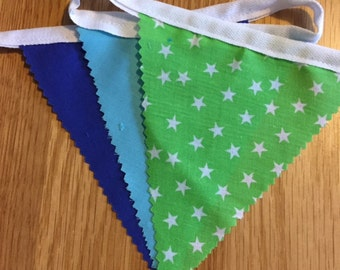 Handmade Shabby Chic Cotton Bunting | Navy Lime Turquoise Bright Stars