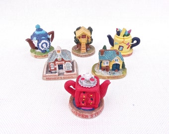 Tetley Teafolk Miniature Houses and Teapots Figurines Acrylic - Collection of 6 - Advertising Collectibles -  English Tea Collectables 1990s