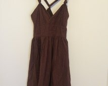 brown knotted strap sundress