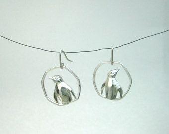 Geometric Penguin hoop earring