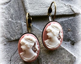 Antique Bronze Lever Back Clip White and Pink Renaissance Lady Cameo Earring Set