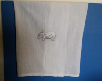 Embroidered Flour Sack Kitchen Towel with Hippo and Yellow Bird