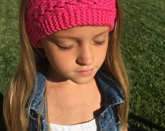 Hot pink knitted headband
