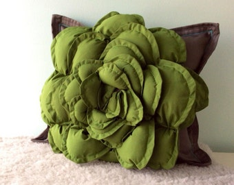 Succulent Pillow  Succulent Decor, Nature Inspired Pillow, Succulent Pillow Garden, Fiber Art Pillow