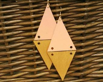 Handpainted earrings, handmade earrings, statement earrings, dangle earrings wooden earrings