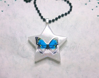 Cabochon resin Butterfly pendant/mod. BF004