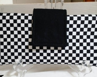 Women's Checkered Racing Wallet Tri-Fold with Six Card Slots