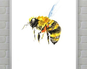 APE,Bee Print - Watercolor Bee Print - Bee Art - Bee Watercolor Art - Bee Wall Art - Bumble Bee Art Print - Bee Decor - Watercolor Prints