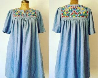 Denim vintage mexican style caftan muu muu dress w/ embroidery size medium