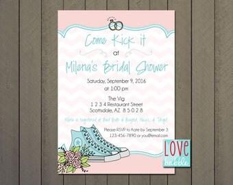 Bridal Shower Invitation, High-top Shoe Party - PRINTABLE DIGITAL FILE 5x7
