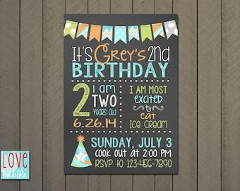 Birthday Party Chalkboard Bunting Invitation - PRINTABLE DIGITAL FILE 5x7