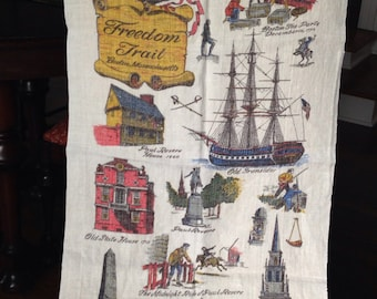 Vintage Linen Kitchen Towel with Boston Landmarks