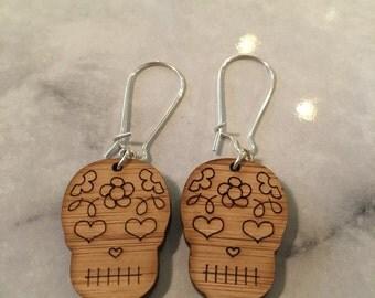Closing down sale**Dangle Earrings- wood sugar skulls