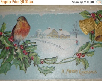 on sale Robin Sitting on Holly Branch With Bell and Snow Scene