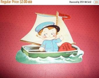 Little Captain in Sailboat Valentine Vintage 1940s