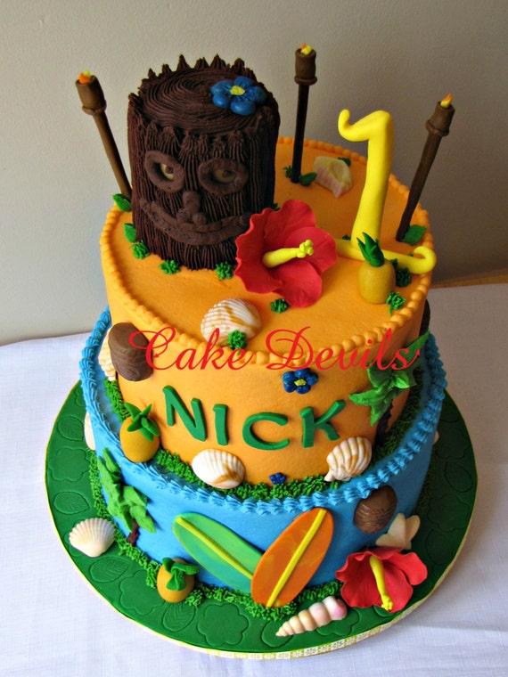 Tiki Party Fondant Cake Topper Kit Handmade Edible