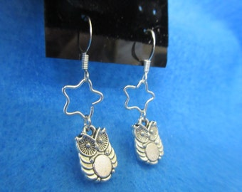 Pair of Silver Plated Dangle Owl Earrings