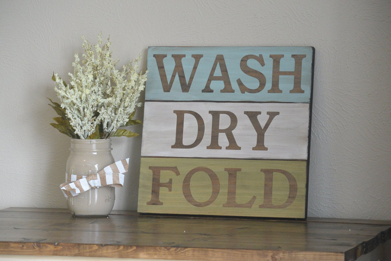 Rustic wash dry fold sign laundry room decor by for Room decor signs