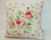 Patchwork Pillow Cover, Shabby Chic Pillow Cover, Quilted Cushion Cover, Quilted Pillow, Fits 18 inch insert_ 18 x 18