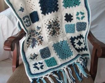 Granny Square Wrap Comfort Shawl / Friendship Shawl / Prayer Shawl