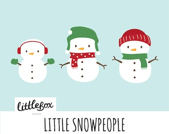 Little Snowpeople Vector Clipart, instant download